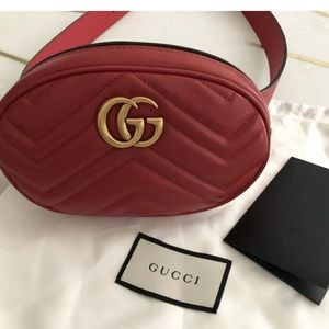Authentic Gucci Gg Marmont belt fanny bag red